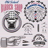 foto of barber  - set of vector icons on a theme barber shop - JPG