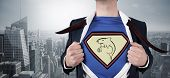 image of loan-shark  - Composite image of businessman opening shirt in superhero style against cityscape - JPG