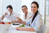 pic of half-dressed  - Workers eat lunch and drink coffee in the office - JPG