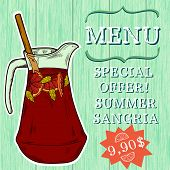 image of sangria  - Doodle hand drawn jug of fresh home made sangria on turquoise wooden background - JPG
