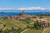 image of snowy hill  - Small town on the hill surrounded by green vineyards and mountains with snowy peaks on background in Piedmont - JPG