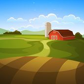 stock photo of farm landscape  - The farm background - JPG