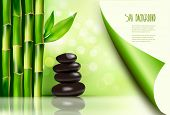 stock photo of bamboo leaves  - Spa background with bamboo and stones - JPG