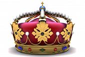 image of crown jewels  - Royal crown with jewels on white background - JPG