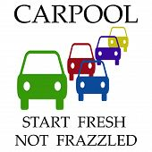foto of frazzled  - cars assorted on white background carpool poster illustration - JPG
