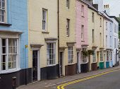 stock photo of chepstow  - Brightly colored houses in the border town of Chepstow in Wales - JPG