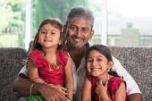 image of indian sari  - Happy Indian family at home - JPG