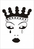 picture of stepmother  - Face of an evil queen with crown and tears - JPG