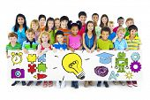 image of pre-adolescent child  - Group of Children Holding Education Concept Billboard - JPG