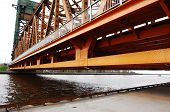 pic of burlington  - A part of the steel construction of the lift bridge over the canal from the lake Ontario to the harbour of Hamilton - JPG