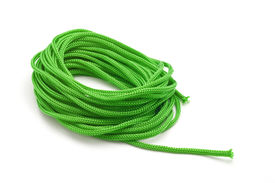 picture of paracord  - green paracord rope isolated on white background closeup - JPG