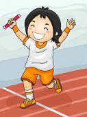 image of relay  - Illustration Featuring a Girl Celebrating Her Winning of the Relay Race - JPG