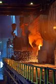 picture of blast-furnace  - Pouring of liquid metal in open hearth workshop - JPG