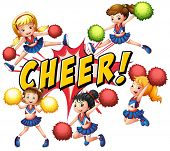 foto of pom-pom  - Cheerleaders cheering with text on white - JPG