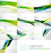 pic of brochure design  - Business collection of flowing wave corporate abstract background - JPG