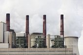 stock photo of fire-station  - Steaming cooling towers in a lignite - JPG