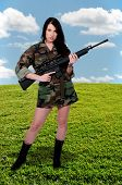 foto of m16  - Beautiful young woman soldier with a M16 rifle - JPG
