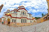 stock photo of beatitudes  - Old Orthodox church at the monastery New Athos Afon in Abkhazia - JPG