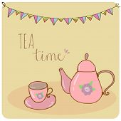 pic of teapot  - Card teapot and cup pastel hand drawn style  tea time - JPG