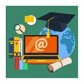 foto of online education  - Set icons for education - JPG