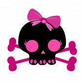 stock photo of skull crossbones  - cute skull on crossbones - JPG
