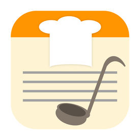 foto of recipe card  - Cook icon with chef hat and soup ladle on recipe card - JPG