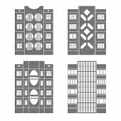image of cell block  - Set of vector facades of panel houses - JPG