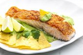 picture of nachos  - grilled salmon fillet with avocado sauce and nachos - JPG