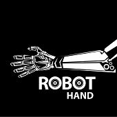 foto of robot  - vector robotic arm symbol icon - JPG