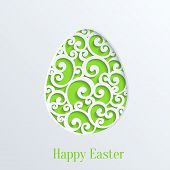 pic of easter card  - Happy Easter Greeting Card with Paper Cut Easter Egg - JPG