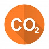 stock photo of carbon-dioxide  - carbon dioxide orange flat icon co2 sign  - JPG