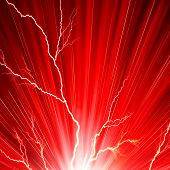 pic of flashing  - Electric flash of lightning on a red background - JPG