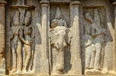 image of tamil  - Stone sculpture at Five rathas complex  in Mamallapuram - JPG