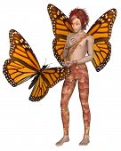 stock photo of monarch  - Fantasy illustration of a Monarch butterfly and red haired fairy boy with monarch butterfly wings - JPG