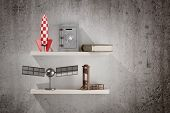 picture of guillotine  - 3d rendering of a shelf with some objects - JPG