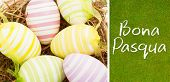 image of pasqua  - Bona pasqua against green background - JPG