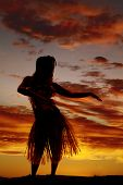 stock photo of hawaiian girl  - a silhouette of a Hawaiian woman dancing in the outdoors - JPG