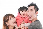 stock photo of toothless smile  - family portrait smiling together - JPG