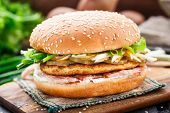 picture of scallion  - Burger with potato pancake - JPG