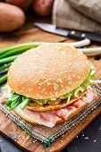 picture of scallion  - Burger with potato pancake - JPG