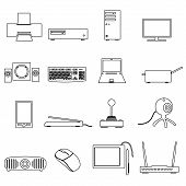 image of peripherals  - computer peripherals simple outline icons set eps10 - JPG