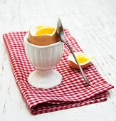 picture of boil  - boiled egg for breakfast on a old wooden table - JPG