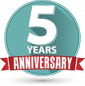 stock photo of 5s  - Flat design 5 years anniversary label with red ribbon vector illustration - JPG