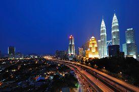 stock photo of klcc  - Kuala Lumpur Cityscape Night Scenery - JPG