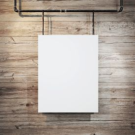 pic of canvas  - Photo of a blank canvas hanging on a wall - JPG