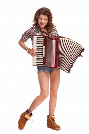 pic of accordion  - Pretty young sexy woman with accordion - JPG