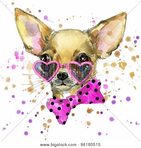 poster of dog fashion T-shirt graphics. dog illustration with splash watercolor textured  background. unusual
