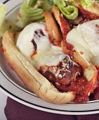 picture of meatball  - Meatball Sandwiches With Mozzarella Cheese And Salad - JPG