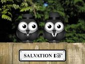 pic of salvation  - Comical bird vicar and businessman with road to salvation sign perched on a timber garden fence against a foliage background - JPG