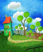 image of fantastic  - Cartoon house in green land illustration fantastic style and fancy green cute trees - JPG